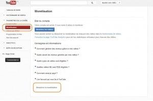 Désactiver la monétisation (cliquez pour agrandir)