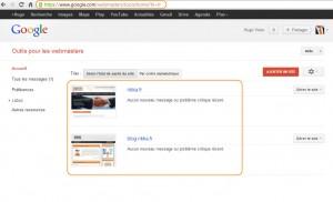 Google Webmaster Tools - les sites dont vous êtes propriétaire (cliquez pour agrandir)