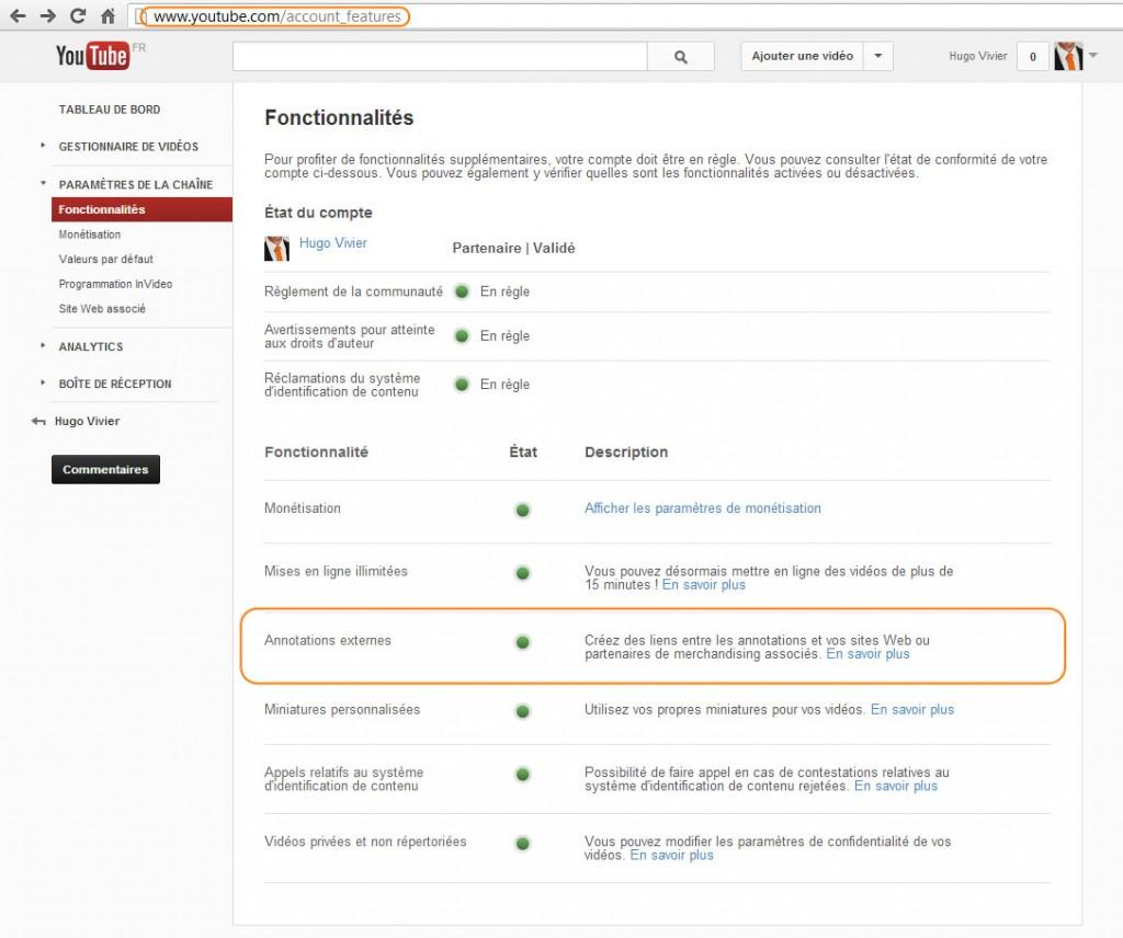 YouTube - Fonctionnalités - Annotations externes