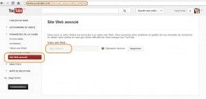 Déclarer un site web associé sur YouTube (cliquez pour agrandir)
