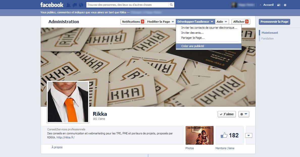 Où trouver le lien pour créer une pub Facebook